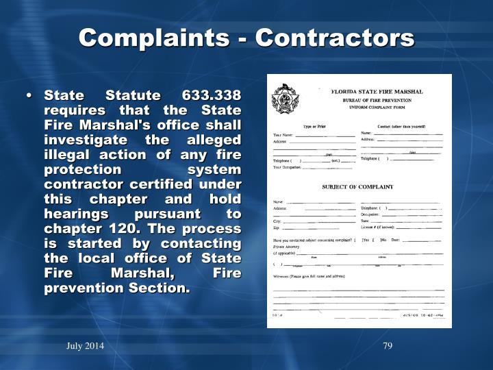 Complaints - Contractors