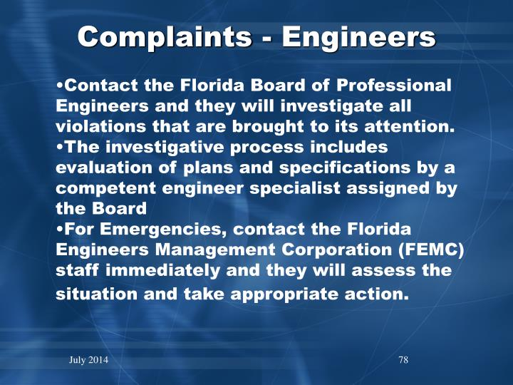 Complaints - Engineers