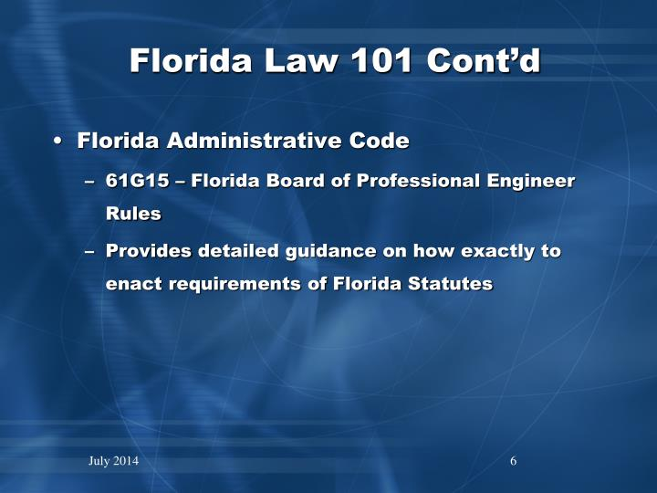 Florida Law 101 Cont'd