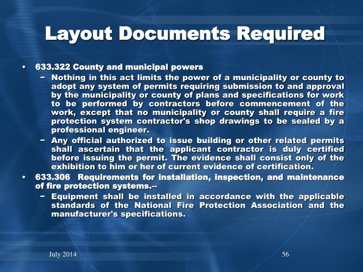 Layout Documents Required