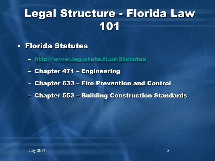 Legal Structure - Florida Law 101