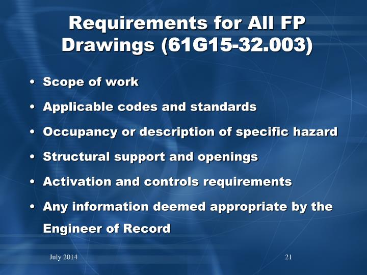 Requirements for All FP Drawings (