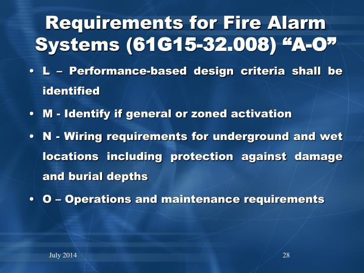 Requirements for Fire Alarm Systems (