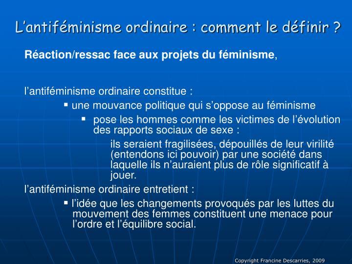 L'antiféminisme ordinaire : comment le définir ?