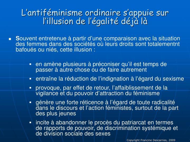 L'antiféminisme ordinaire s'appuie sur