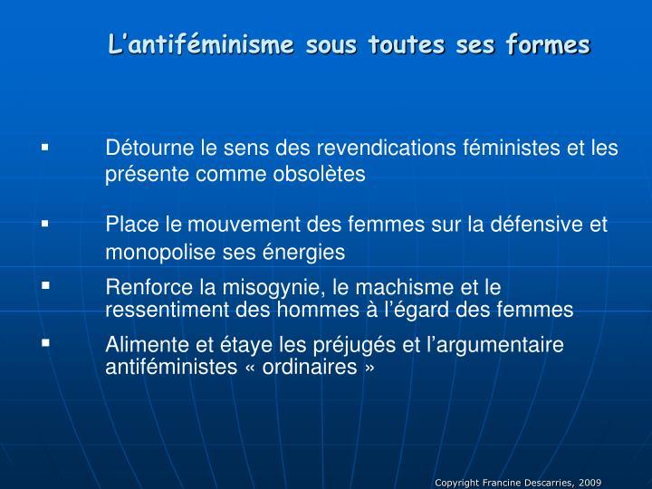 L'antiféminisme sous toutes ses formes