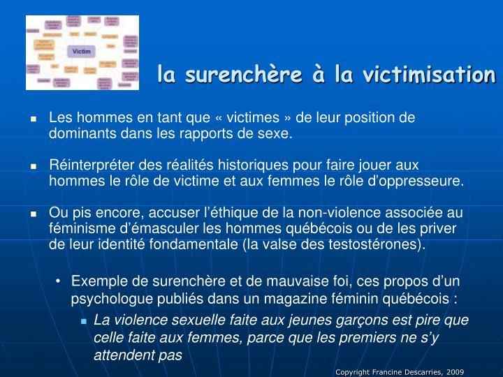 la surenchère à la victimisation