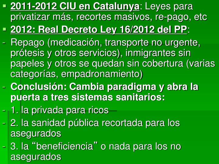 2011-2012 CIU en Catalunya
