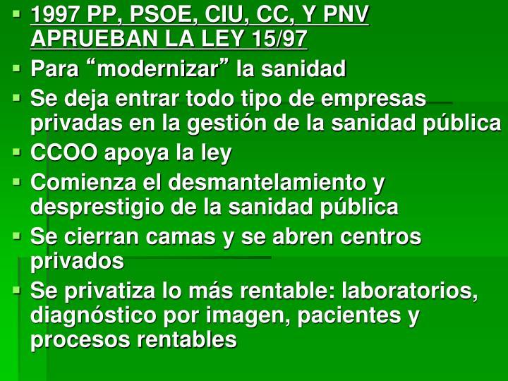 1997 PP, PSOE, CIU, CC, Y PNV APRUEBAN LA LEY 15/97
