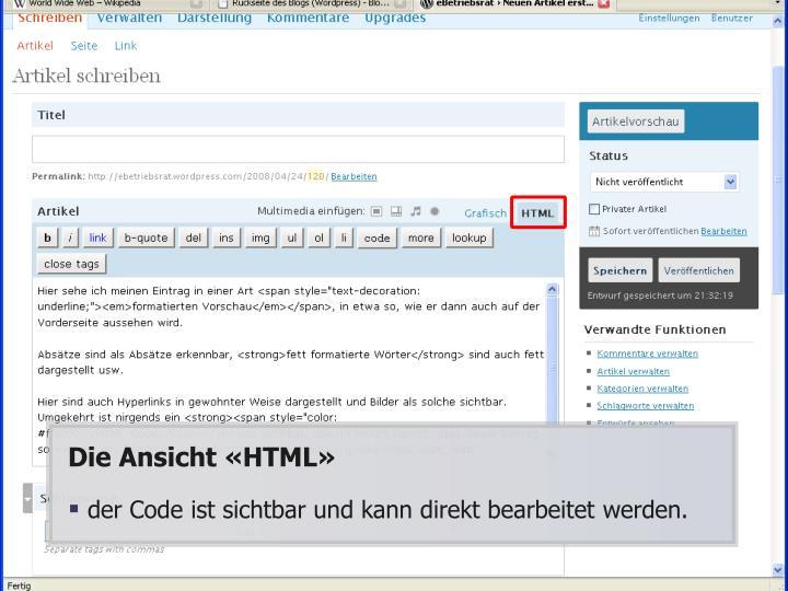 Die Ansicht «HTML»