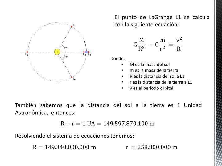 El punto de LaGrange L1 se calcula con la siguiente ecuación: