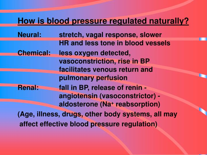 How is blood pressure regulated naturally?
