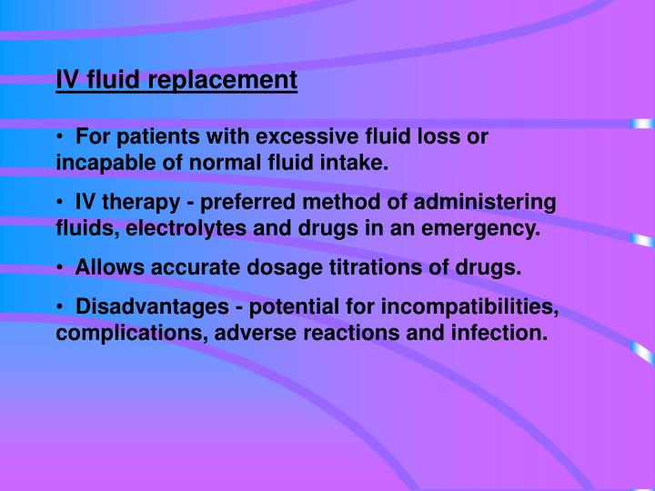 IV fluid replacement