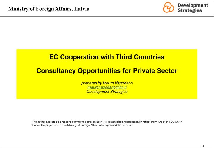 EC Cooperation with Third Countries