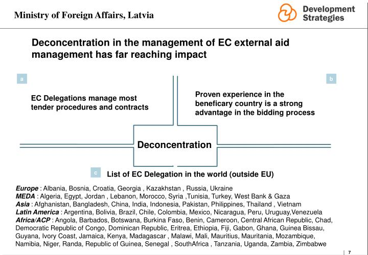Deconcentration in the management of EC external aid management has far reaching impact
