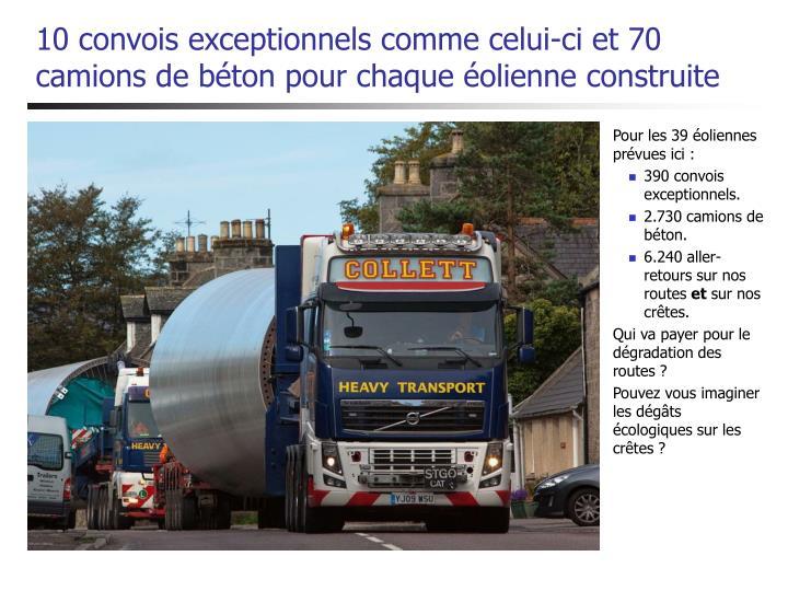 10 convois exceptionnels comme celui-ci et 70 camions de béton pour chaque éolienne construite