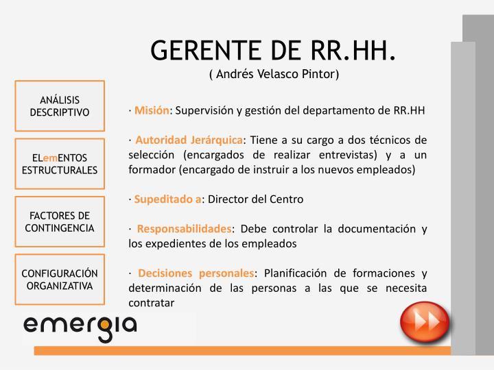 GERENTE DE RR.HH.