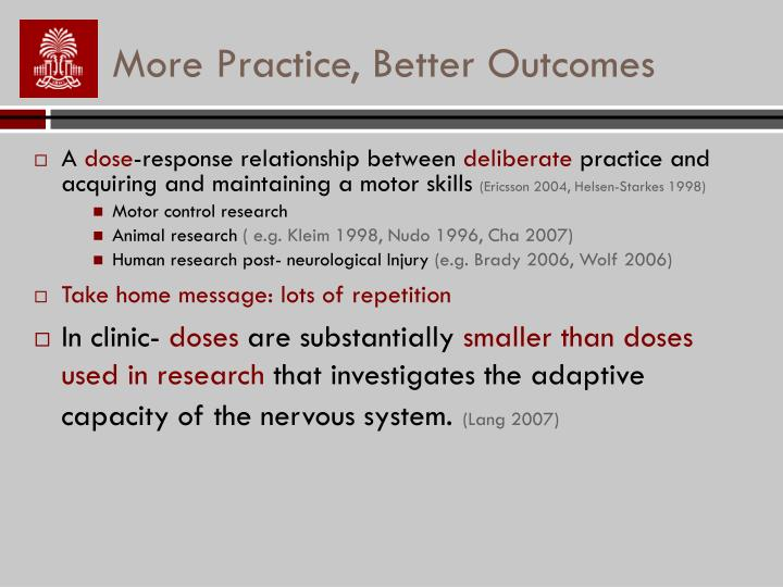 More Practice, Better Outcomes