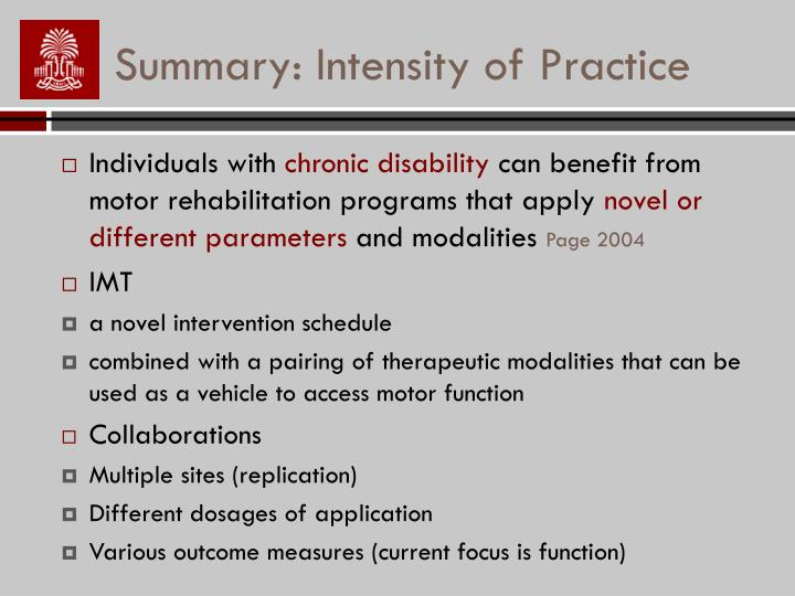 Summary: Intensity of Practice