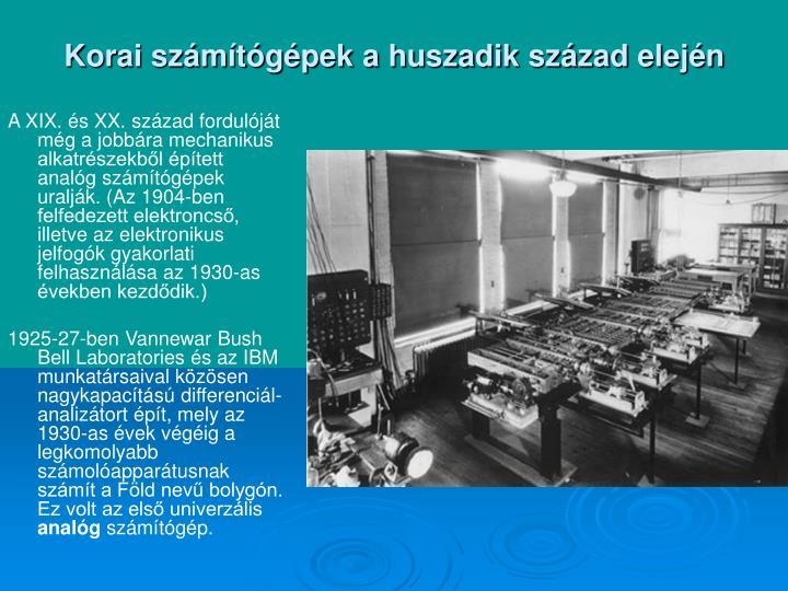 Korai számítógépek a huszadik század elején