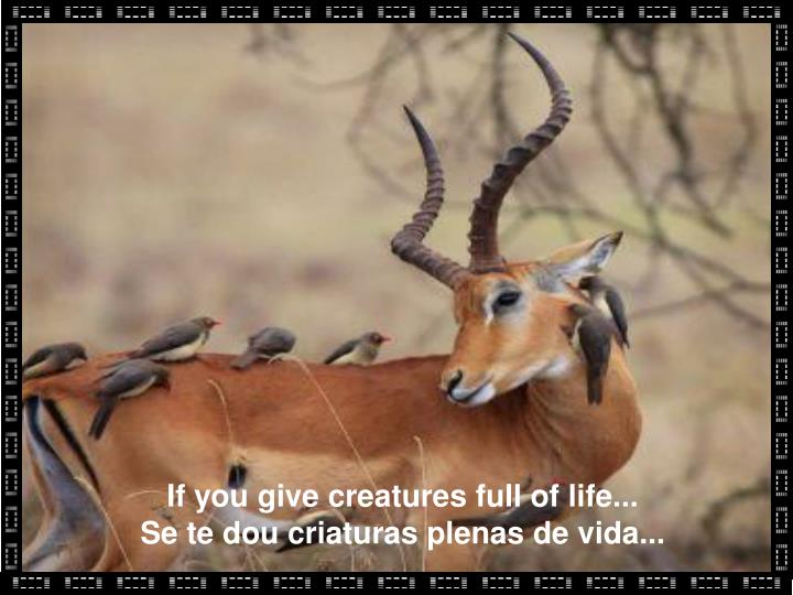 If you give creatures full of life...