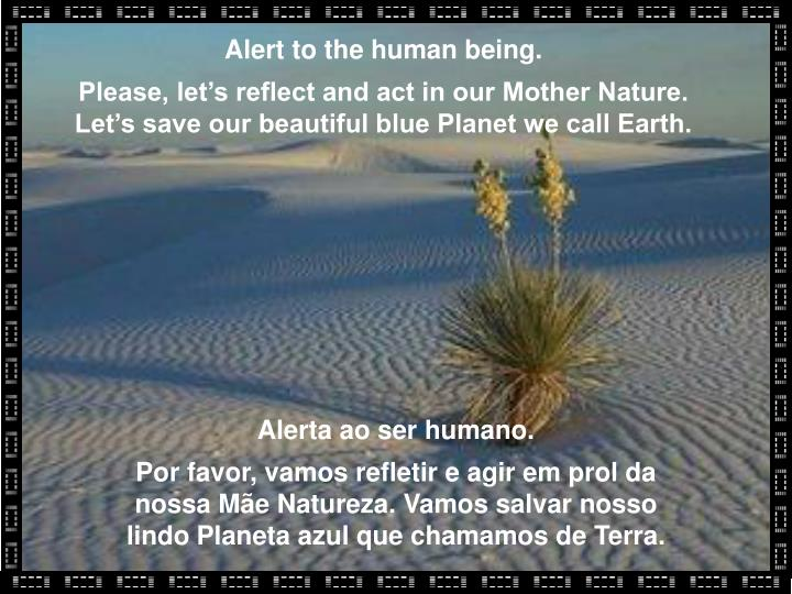 Alert to the human being.