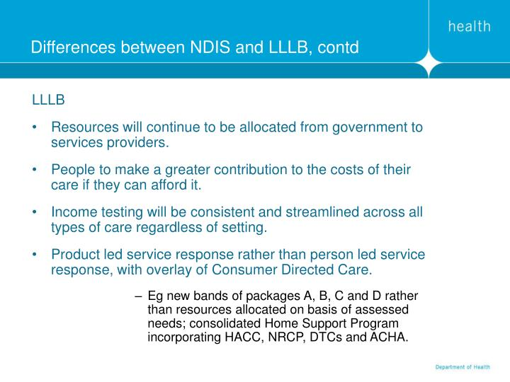 Differences between NDIS and LLLB, contd