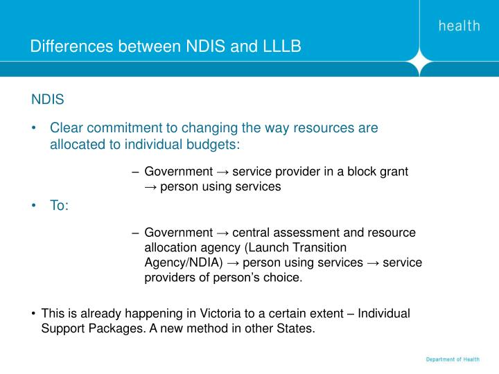 Differences between NDIS and LLLB