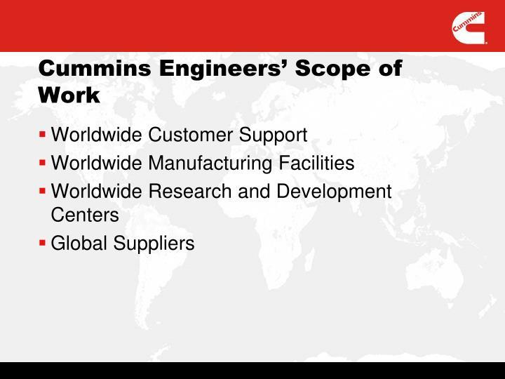 Cummins Engineers' Scope of Work