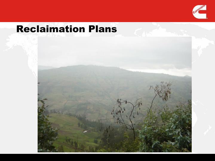 Reclaimation Plans