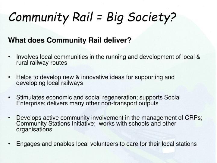 Community Rail = Big Society?