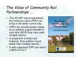 the value of community rail partnerships