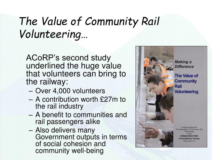 The Value of Community Rail Volunteering…