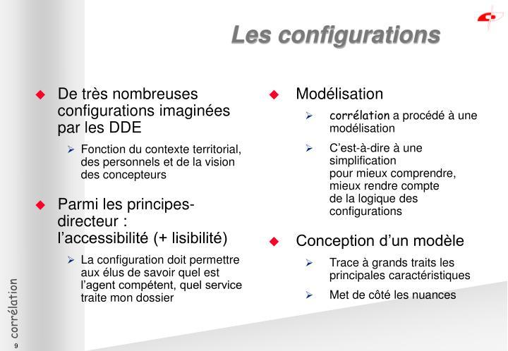 De très nombreuses configurations imaginées par les DDE