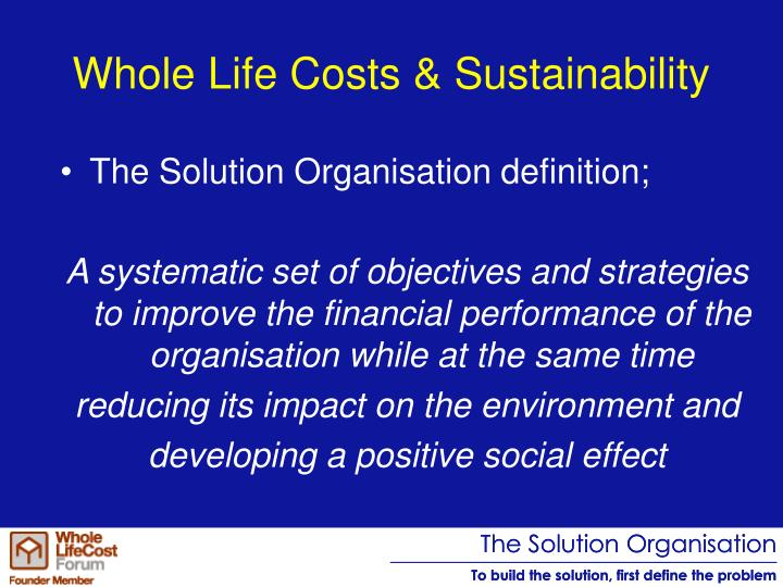 Whole Life Costs & Sustainability