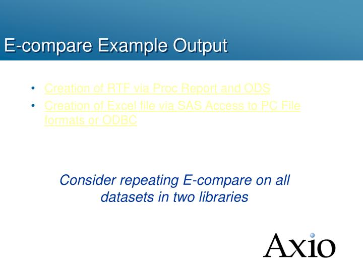 E-compare Example Output