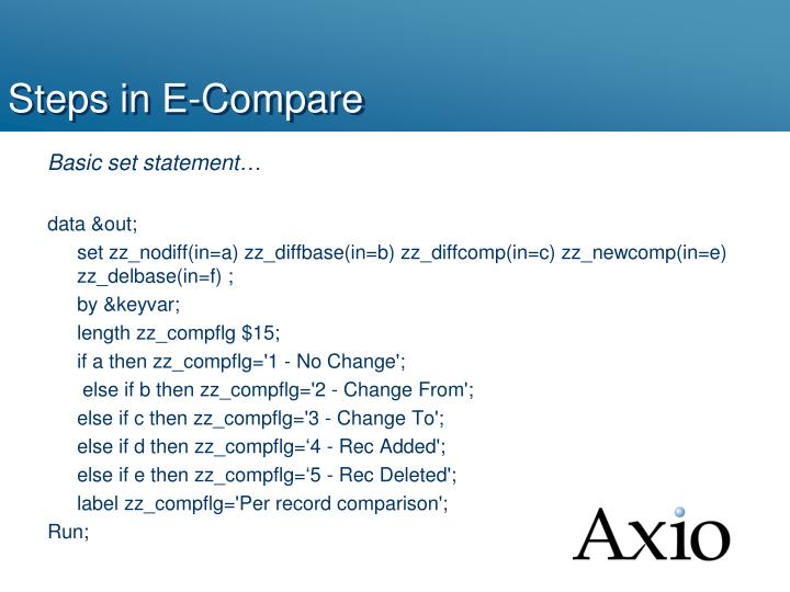 Steps in E-Compare