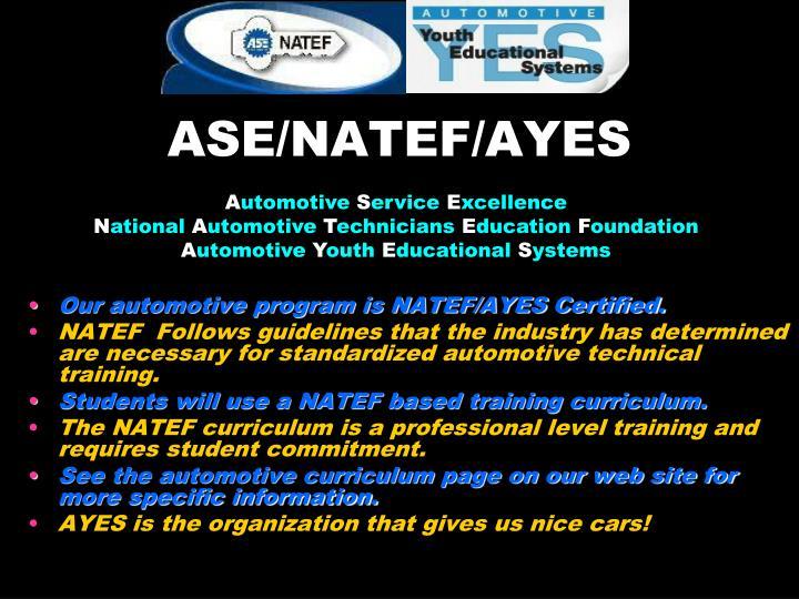 ASE/NATEF/AYES