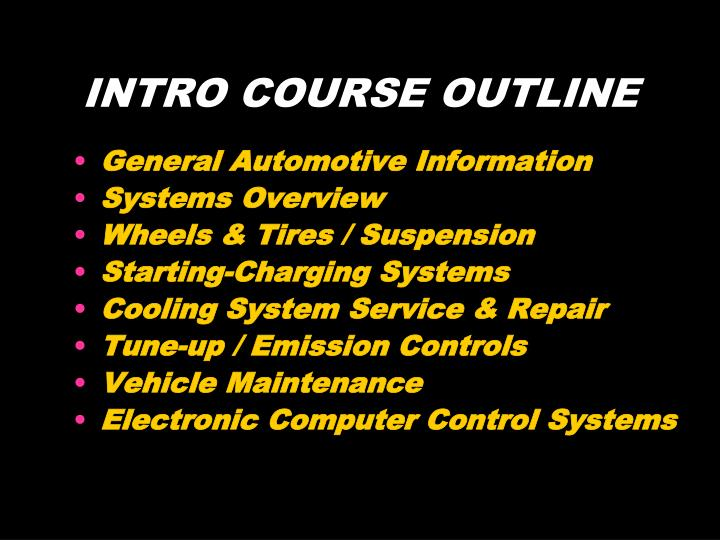 INTRO COURSE OUTLINE