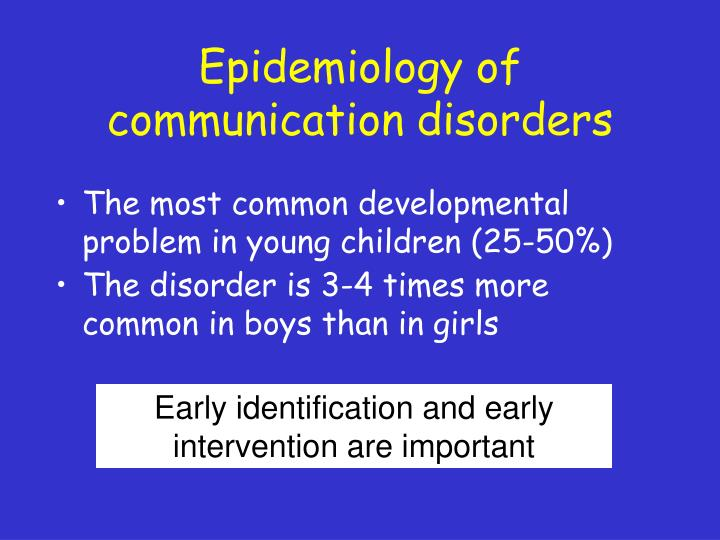 Epidemiology of communication disorders