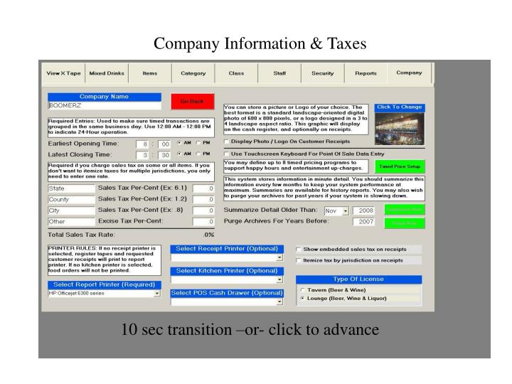 Company Information & Taxes