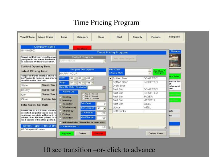 Time Pricing Program