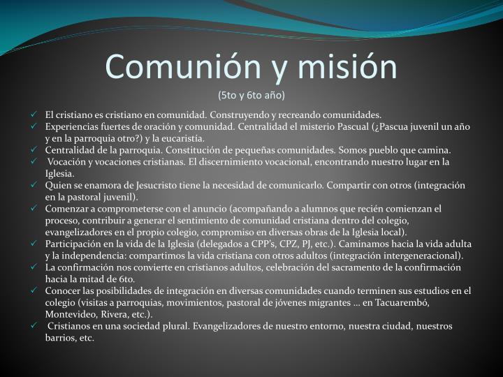 Comunión y misión