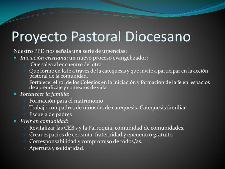 Proyecto Pastoral Diocesano