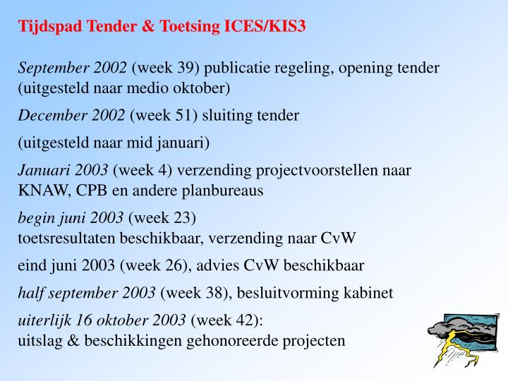 Tijdspad Tender & Toetsing ICES/KIS3