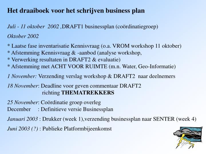 Het draaiboek voor het schrijven business plan