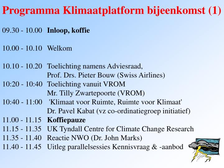 Programma Klimaatplatform bijeenkomst (1)