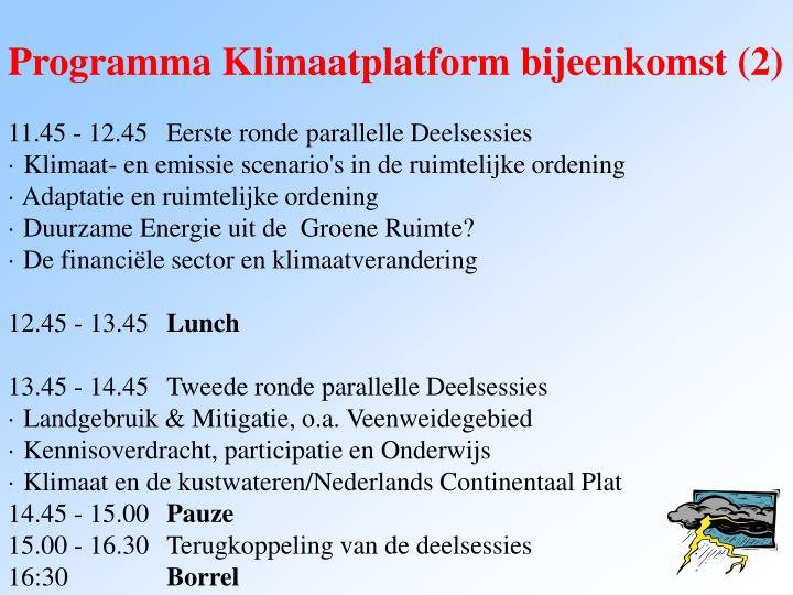 Programma Klimaatplatform bijeenkomst (2)