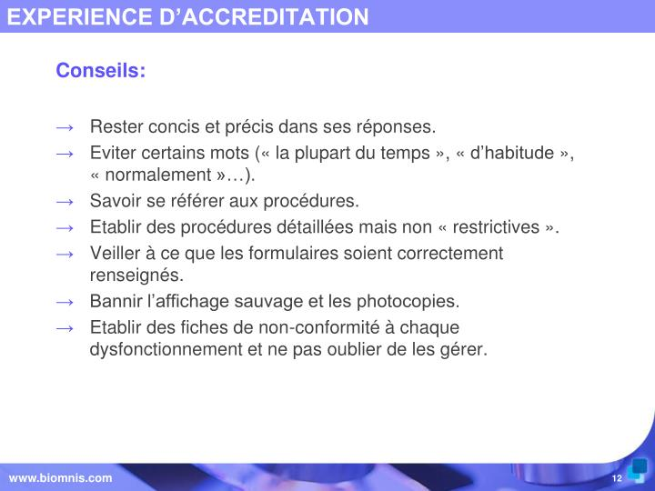 EXPERIENCE D'ACCREDITATION