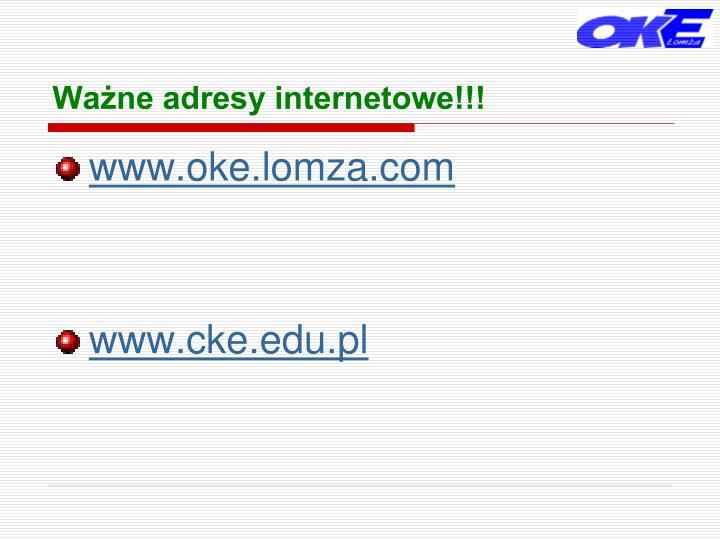 Ważne adresy internetowe!!!